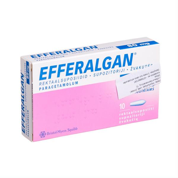 EFFERALGAN, 80 mg, žvakutės, N10  paveikslėlis