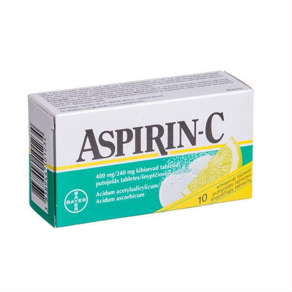 ASPIRIN-C, 400 mg/240 mg, šnypščiosios tabletės, N10  paveikslėlis