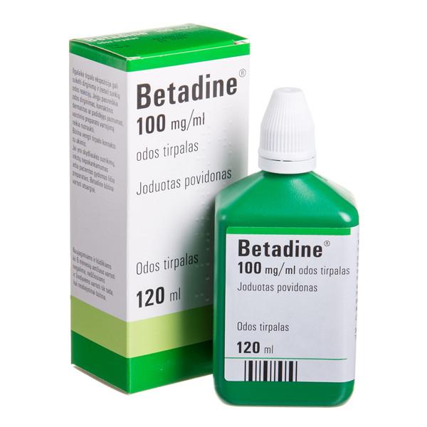 BETADINE, 100 mg/ml, odos tirpalas, 120 ml  paveikslėlis