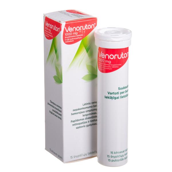 VENORUTON, 1000 mg, šnypščiosios tabletės, N15  paveikslėlis