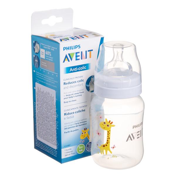 """PHILIPS AVENT, buteliukas """"Anti-colic"""" """"Žirafa"""" su lėtos tėkmės žinduku, 1 mėn.+, SCF821/12, 260 ml paveikslėlis"""