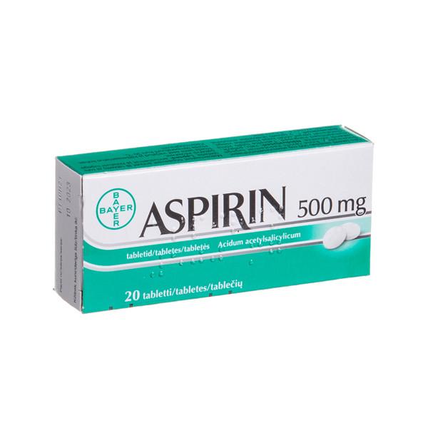 ASPIRIN, 500 mg, tabletės, N20  paveikslėlis
