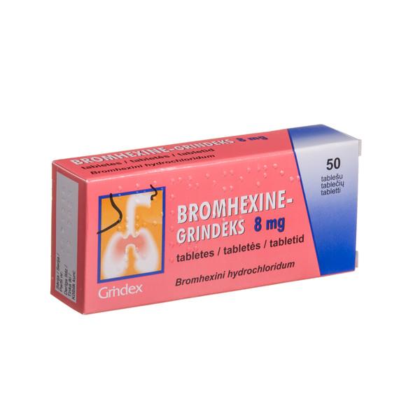 BROMHEXINE-GRINDEKS, 8 mg, tabletės, N50 paveikslėlis