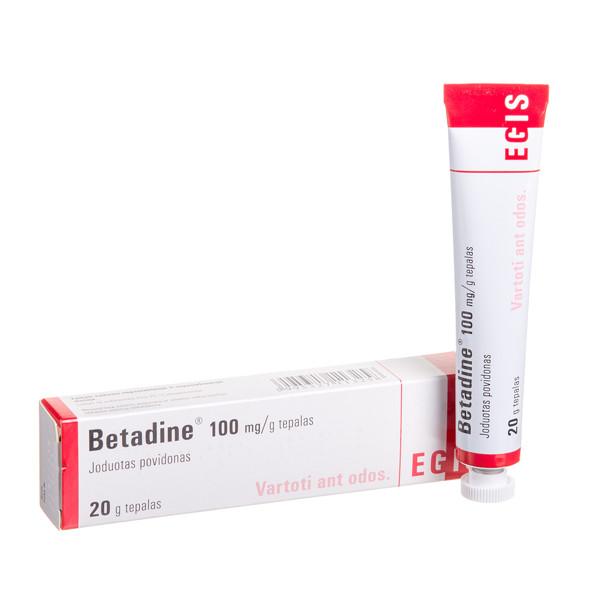 BETADINE, 100 mg/g, tepalas, 20 g paveikslėlis