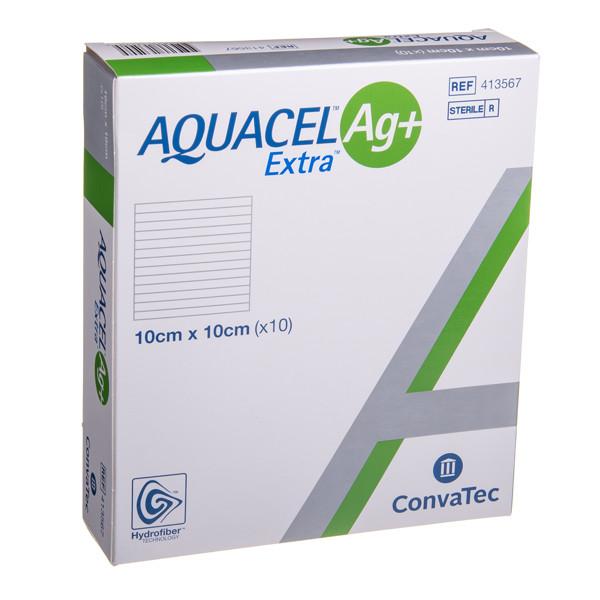 CONVATEC AQUACEL AG+ EXTRA, tvarstis, 10 x 10 cm, 10 vnt. paveikslėlis