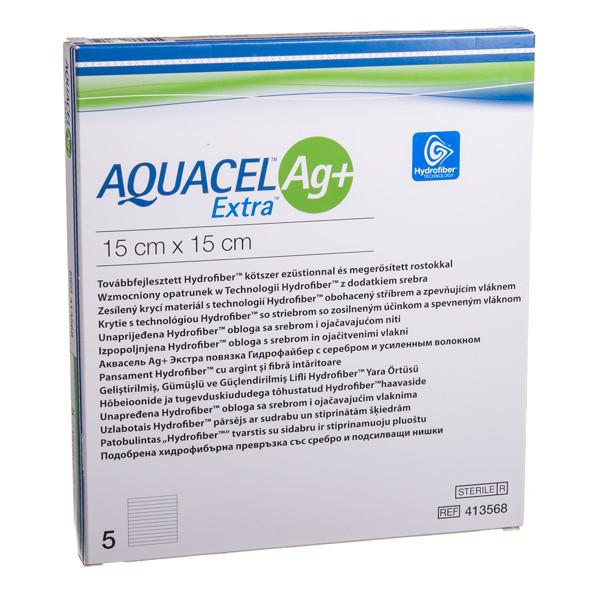 CONVATEC AQUACEL AG+ EXTRA, tvarstis, 15 x 15 cm, 5 vnt. paveikslėlis