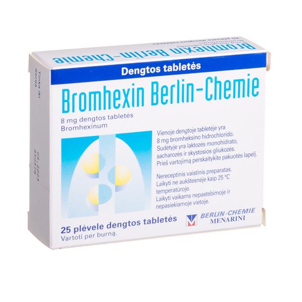 BROMHEXIN BERLIN-CHEMIE, 8 mg, dengtos tabletės, N25 paveikslėlis