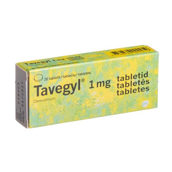 TAVEGYL, 1 mg, tabletės, N20  paveikslėlis
