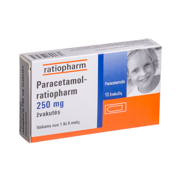PARACETAMOL-RATIOPHARM, 250 mg, žvakutės, N10  paveikslėlis