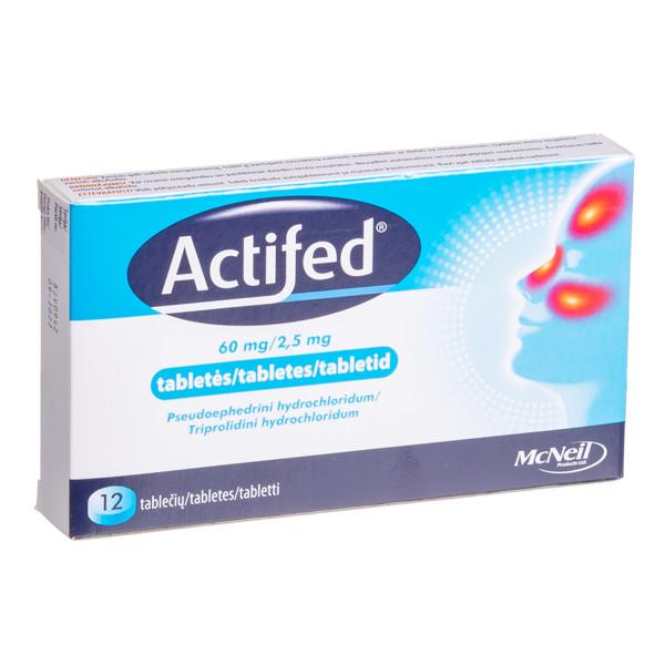 ACTIFED, 60 mg/2,5 mg, tabletės, N12  paveikslėlis
