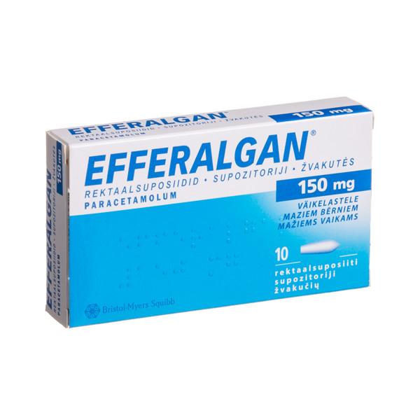 EFFERALGAN, 150 mg, žvakutės, N10  paveikslėlis