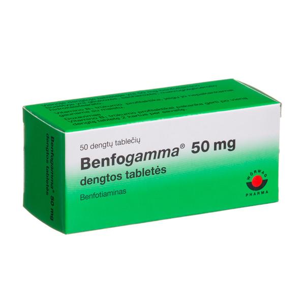 BENFOGAMMA, 50 mg, dengtos tabletės, N50  paveikslėlis