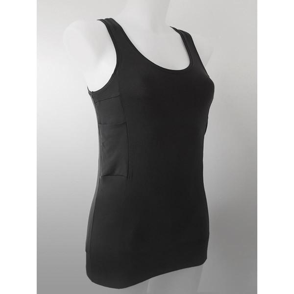ANNAPS moteriški marškinėliai su kišenėmis insulino pompai,  juoda, L, 1 vnt. paveikslėlis