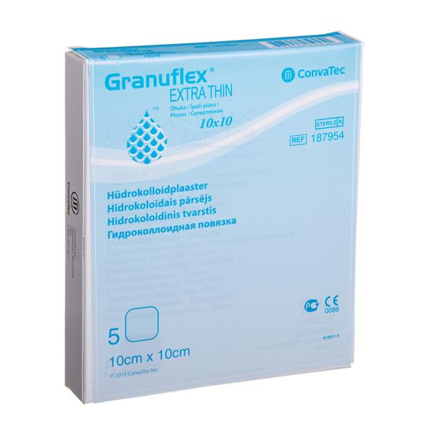 CONVATEC GRANUFLEX EXTRA THIN, hidrokoloidinis tvarstis, 10 x 10 cm, 5 vnt. paveikslėlis