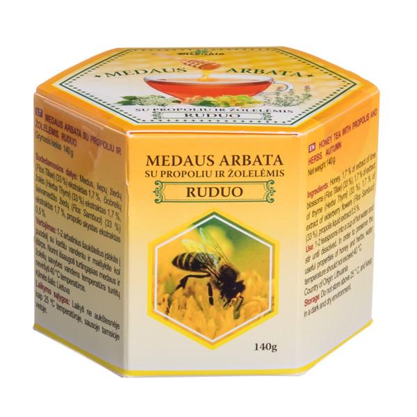 MEDICATA PERŠALUS, medaus arbata su propoliu ir žolelėmis, 140 g paveikslėlis