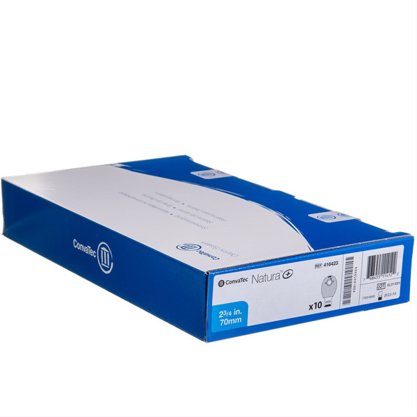 CONVATEC NATURA +, išmatų rinktuvų atviri maišeliai, 70 mm, 10 vnt. su INVISICLOSE, filtru, dvigubu užsegimu paveikslėlis