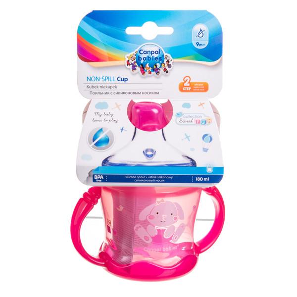 CANPOL BABIES SWEET FUN, neišsipilantis puodelis, rožinis, 57/300, 180 ml paveikslėlis