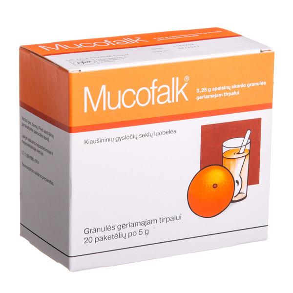 MUCOFALK, 3,25 g, apelsinų skonio granulės geriamajam tirpalui, 5 g, N20 paveikslėlis