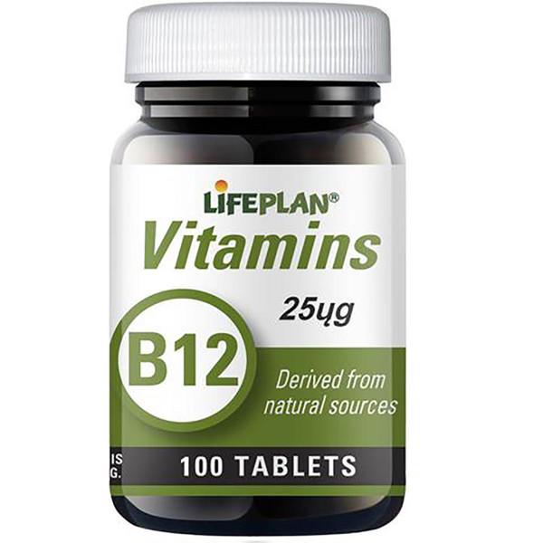 LIFEPLAN VITAMINAS B12, 25 µg, 100 tablečių paveikslėlis