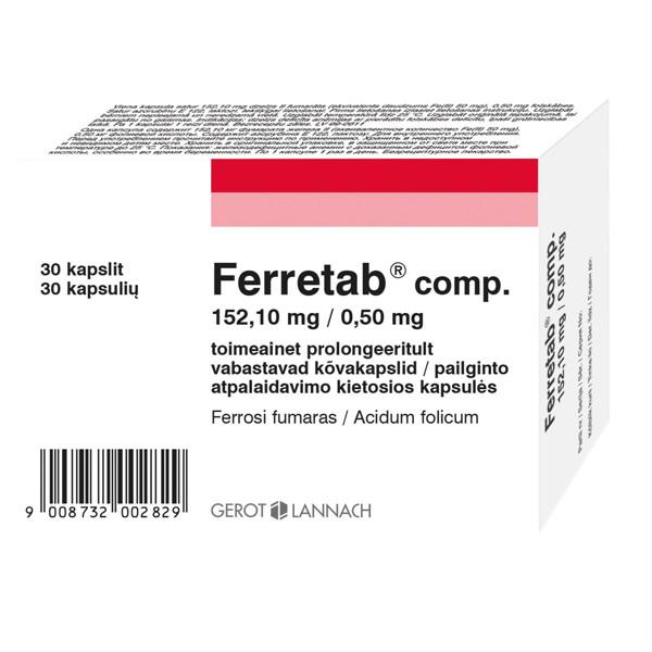 FERRETAB COMP., 152,1 mg/0,5 mg, pailginto atpalaidavimo kietosios kapsulės, N30 paveikslėlis