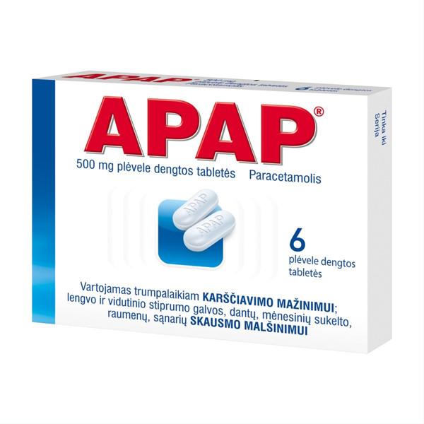 APAP, 500 mg, plėvele dengtos tabletės, N6 paveikslėlis