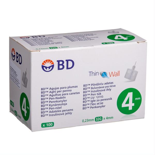 BD PEN, insulininės adatos, 0,23 mm (32G) x 4 mm, 100 vnt. paveikslėlis