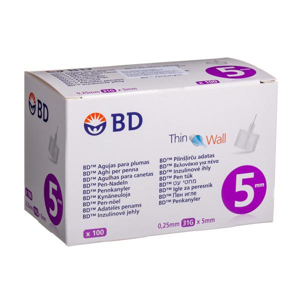BD PEN, insulininės adatos, 0,25 mm (31G) x 5 mm, 100 vnt. paveikslėlis