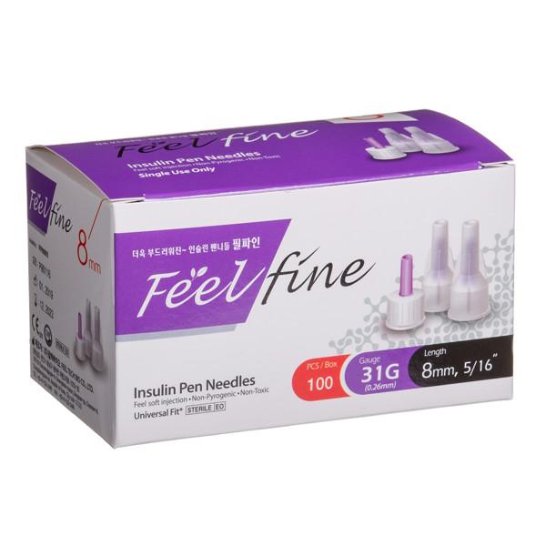 FEELFINE PEN, insulino adatos, 8 mm, 31G, 100 vnt. paveikslėlis