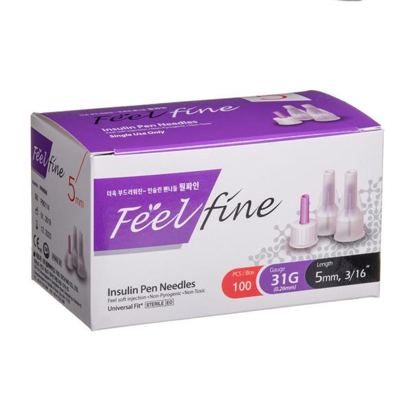 FEELFINE PEN, insulino adatos, 5 mm, 31G, 100 vnt. paveikslėlis