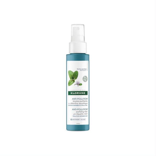 KLORANE ANTI-POLLUTION MINT, gaivinanti ir kvapi neutralizuojanti dulksna plaukams su natūraliu vandeninės ištraukos ekstraktu, 100 ml paveikslėlis