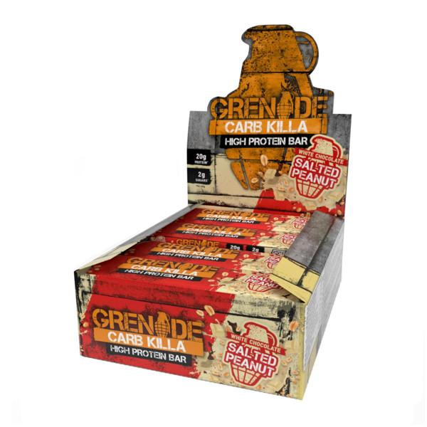 GRENADE CARB KILLA BAR, baltyminiai batonėliai, balto šokolado sūdytų riešutų skonio, 12 x 60 g paveikslėlis