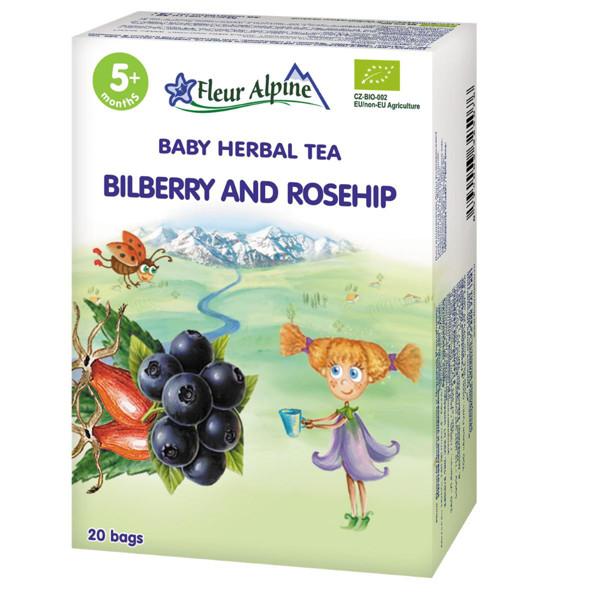 """FLEUR ALPINE, ekologiška žolelių arbata, """"Mėlynių ir erškėtuogių"""" , tinka vaikams nuo 5 mėnesių, 30 g paveikslėlis"""