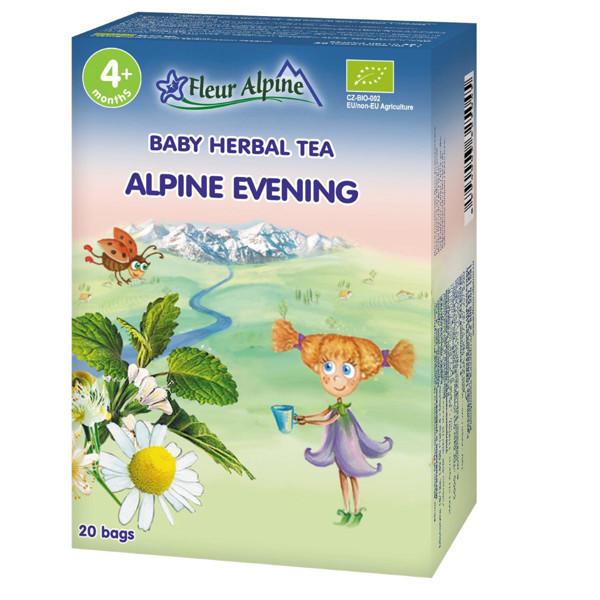 """FLEUR ALPINE, ekologiška žolelių arbata, """"Alpių vakaras"""" , tinka vaikams nuo 4 mėnesių, 20 g paveikslėlis"""
