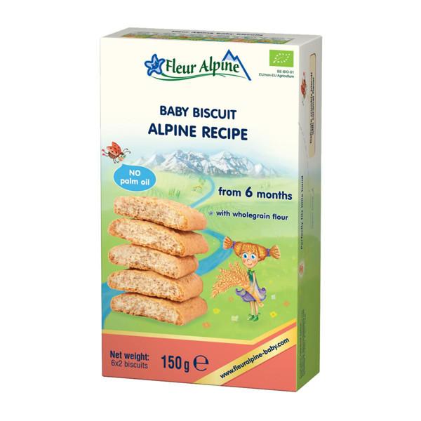 """""""Alpine su prebiotikais"""" ekologiški sausainiai FLEUR ALPINE, nuo 6 mėnesių, 150 g paveikslėlis"""