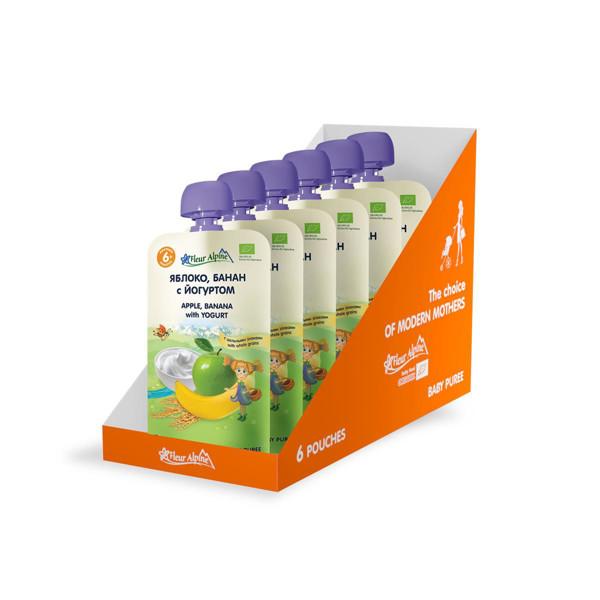 """""""Obuolių-bananų su jogurtu"""" ekologiška tyrelė FLEUR ALPINE, nuo 6 mėnesių, 120 g x 6 paveikslėlis"""