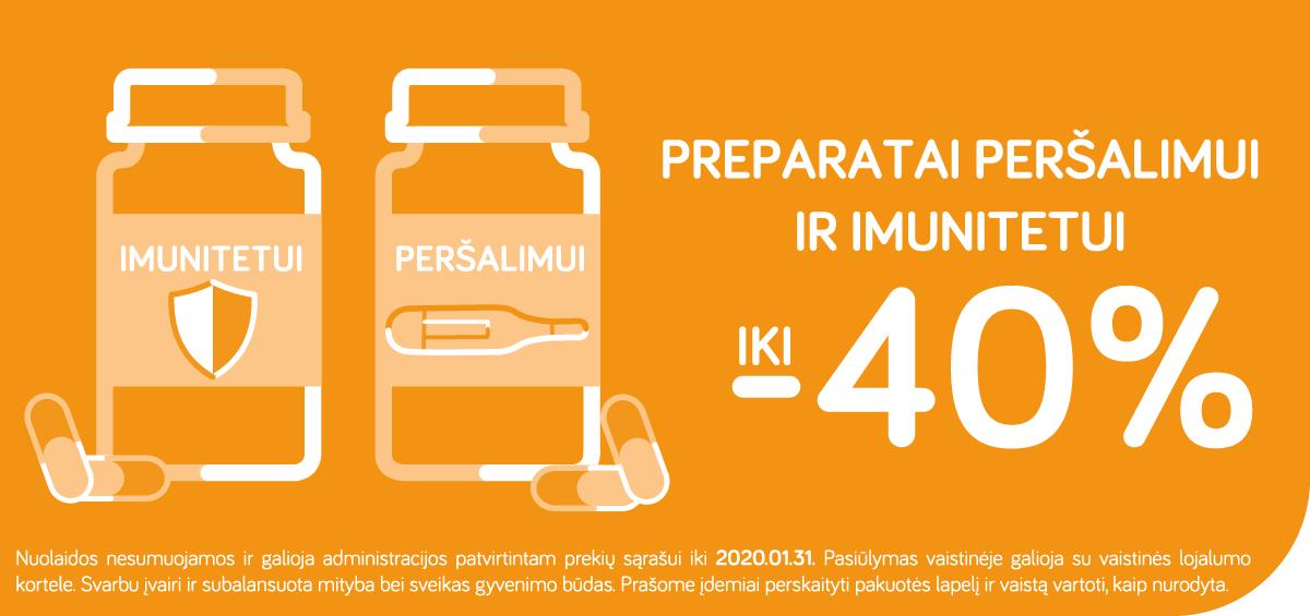 Preparatai peršalimui ir imunitetui iki -40%