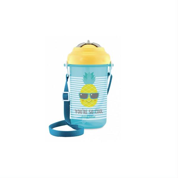 CANPOL BABIES SO COOL, gertuvė su dirželiu ir silikoniniu šiaudeliu, geltonas, 4/102, 400 ml paveikslėlis