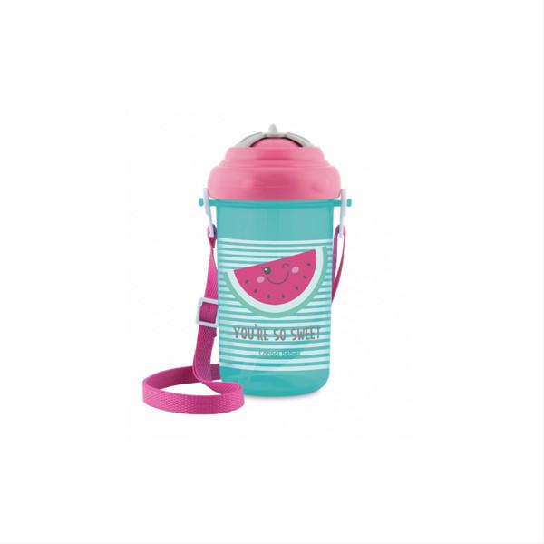 CANPOL BABIES SO COOL, gertuvė su dirželiu ir silikoniniu šiaudeliu, rožinis, 4/102, 400 ml paveikslėlis