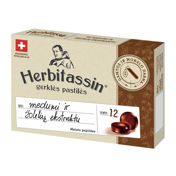 HERBITASSIN, gerklės pastilės su medumi ir 14 žolelių ekstraktu, 12 pastilių paveikslėlis