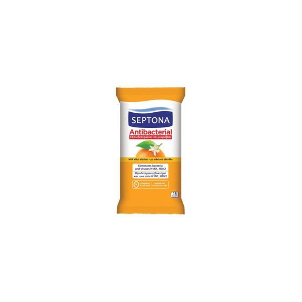 SEPTONA, drėgnos antibakterinės servetėlės, apelsinų kvapo, 15 vnt. paveikslėlis