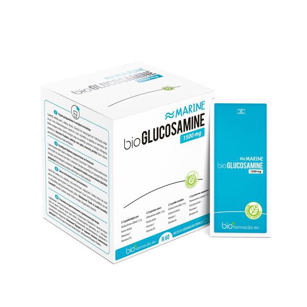 BIOGLUCOSAMINE MARINE, 1500 mg, milteliai, 60 vnt. paveikslėlis