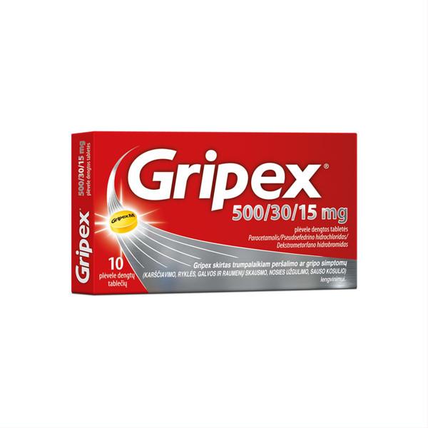 GRIPEX, 500/30/15 mg, plėvele dengtos tabletės, N10 paveikslėlis