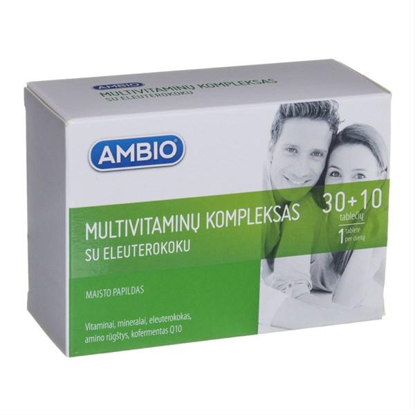 AMBIO MULTIVITAMINŲ KOMPLEKSAS SU ELEUTEROKOKU, 30 + 10 tablečių paveikslėlis