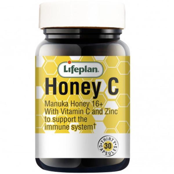 LIFEPLAN HONEYC FOR IMMUNITY, medaus kapsulės su cinku ir vitaminu C, 60 kapsulių paveikslėlis