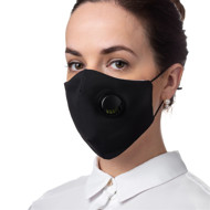 Apsauginė kaukė su iškvėpimo vožtuvu, daugkartinio naudojimo, juoda paveikslėlis