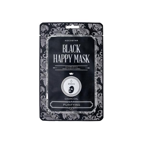 KOCOSTAR valanti riebios odos kaukė su juodaja anglimi Black Happy mask,  1 vnt