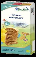 """""""Pirmieji su kriaušių sultimis"""" ekologiški sausainiai FLEUR ALPINE,  nuo 6 mėnesių, 150 g. paveikslėlis"""