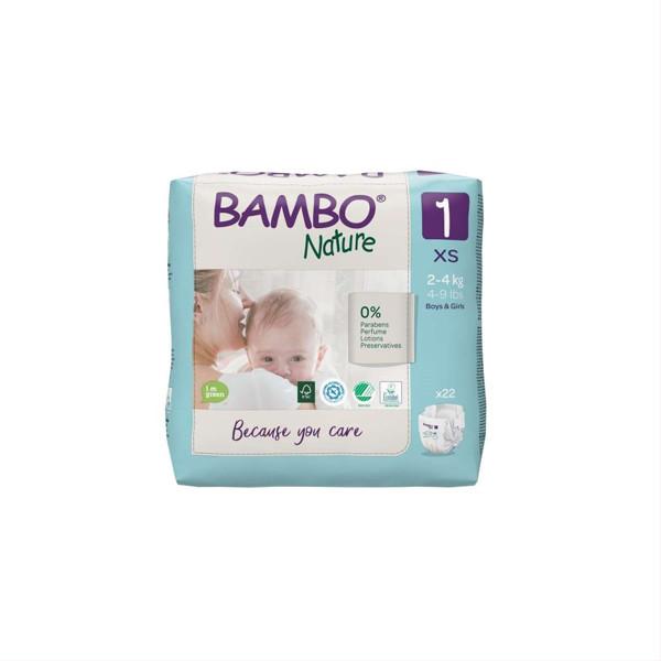 BAMBO NATURE, 1 dydis, sauskelnės, 2-4 kg, 22 vnt. paveikslėlis