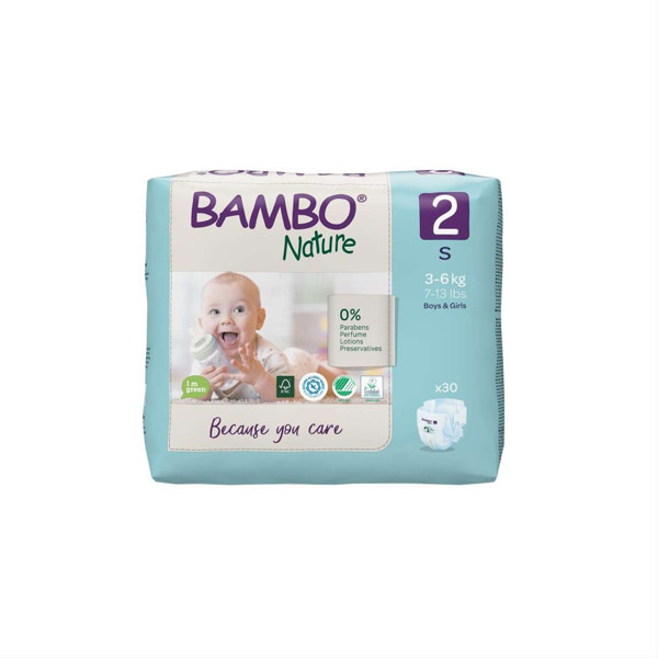BAMBO NATURE, 2 dydis, sauskelnės, 3-6 kg, 30 vnt. paveikslėlis