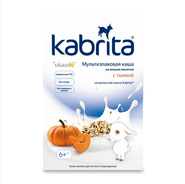 Sausa greitai ištirpinama daugiagrūdė košė,  pagaminta su adaptuotu pieno mišiniu Kabrita®, su moliūgais – kūdikiams nuo 6 mėnesių, 180 g paveikslėlis